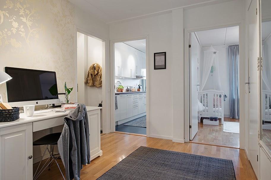 amenajari, interioare, decoratiuni, decor, design interior, stil scandinav, apartament 3 camere, birou in hol,