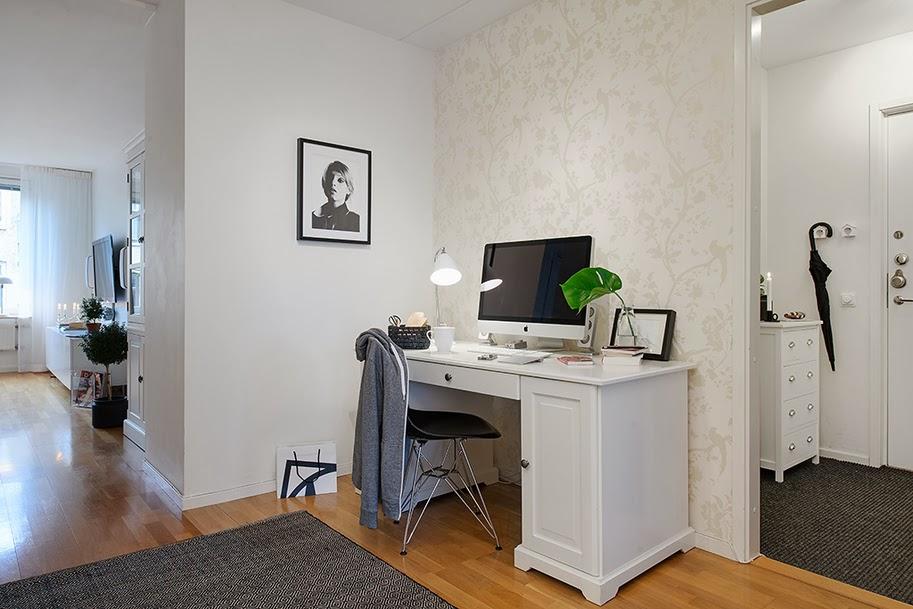 amenajari, interioare, decoratiuni, decor, design interior, stil scandinav, apartament 3 camere, birou in hol