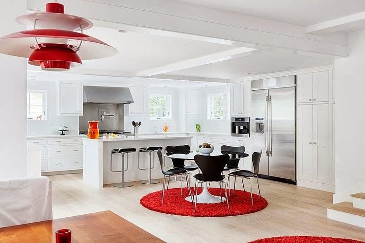 amenajari, interioare, decoratiuni, decor, design interior, alb, rosu, living, sufragerie, plan deschis , bucatarie