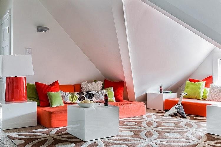 amenajari, interioare, decoratiuni, decor, design interior, stil eclectic, living, mansarda