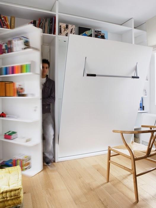 amenajari, interioare, decoratiuni, decor, design interior, birou, usa secreta, dormitor, pat rabatabil,