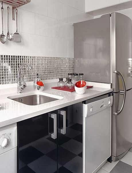 amenajari, interioare, decoratiuni, decor, design interior, gri, frigider, bucatarie, modern,