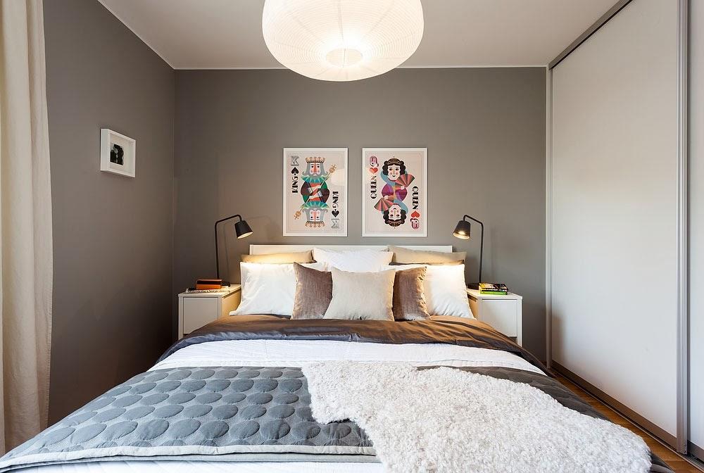 amenajari, interioare, decoratiuni, decor, design interior, dormitor, gri, spatii mici,