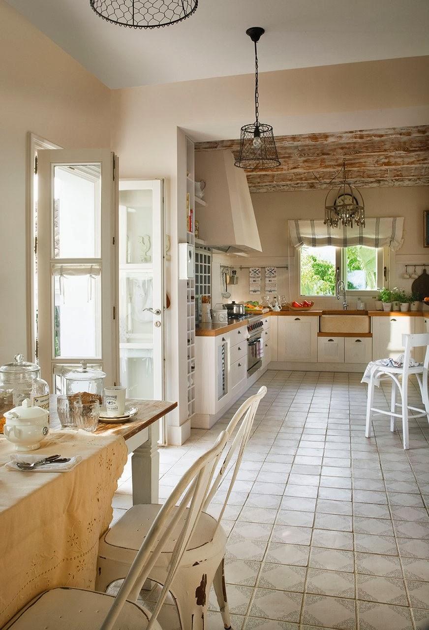amenajari, interioare, decoratiuni, decor, design interior, bucatarie, rustic, alb,