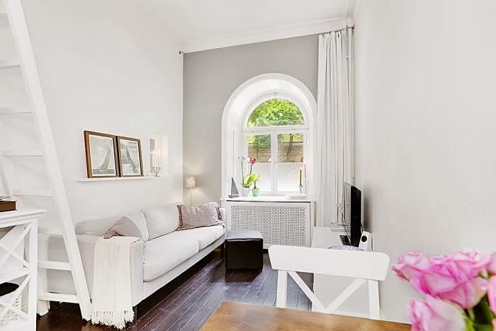 amenajari, interioare, decoratiuni, decor, design interior, garsoniera, alb, living