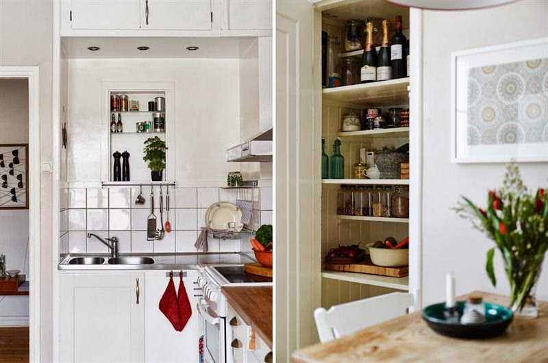 amenajari, interioare, decoratiuni, decor, design interior, duplex, scandinav, mansarda, pereti de caramida, grinzi, bucatarie