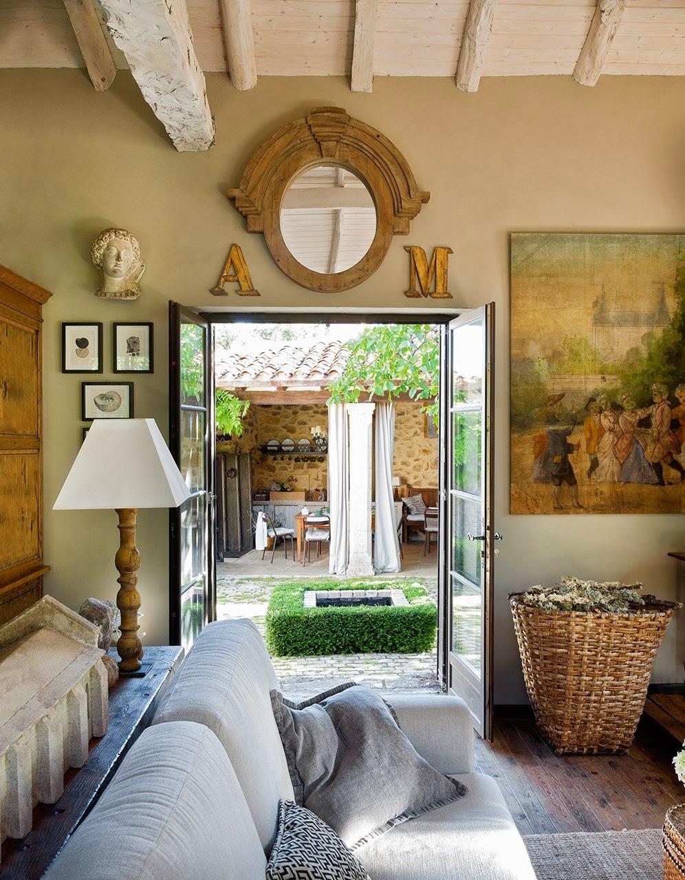 amenajari, interioare, decoratiuni, decor, design interior, stil rustic, reconversie, zid de piatra, living