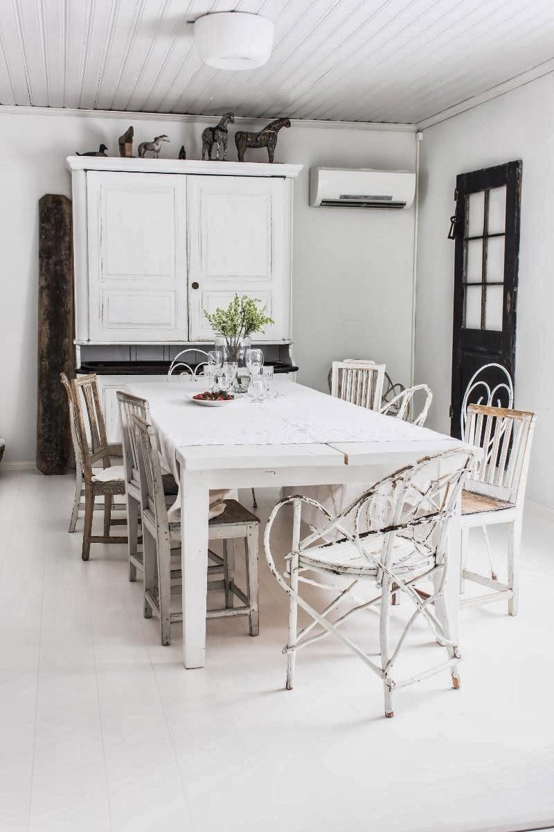 amenajari, interioare, decoratiuni, decor, design interior, shabby chic, scandinav, alb, rustic, sufragerie