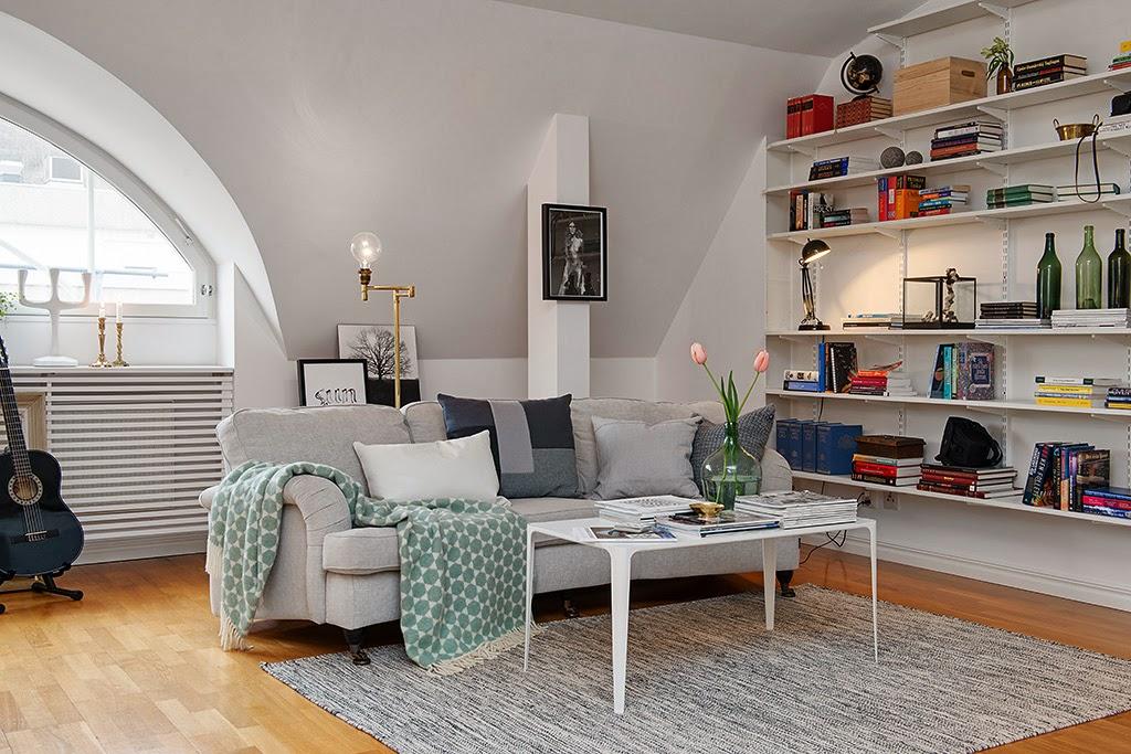 amenajari, interioare, decoratiuni, decor, design interior, mansarda, apartament 3 camere, stil scandinav, plan deschis, living, bucatarie, biblioteca,