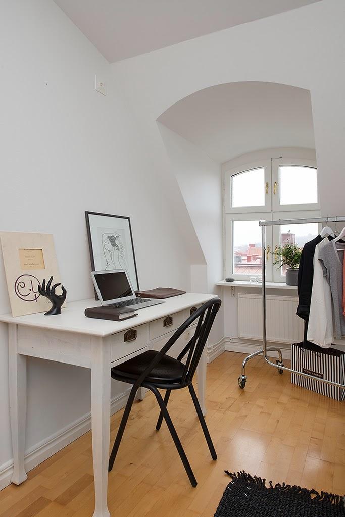 amenajari, interioare, decoratiuni, decor, design interior, mansarda, apartament 3 camere, stil scandinav, dormitor, birou