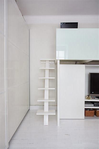 amenajari, interioare, decoratiuni, decor, design interior, garsoniera, spatii mici, scandinav, living, pat suspendat,
