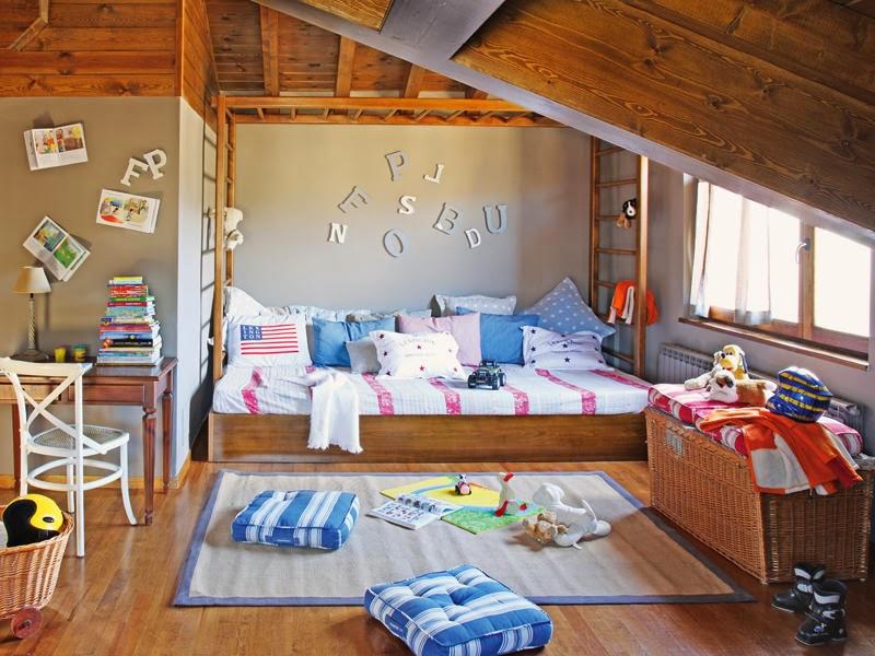 amenajari, interioare, decoratiuni, decor, design interior, rustic, lemn, camera copil, mansarda