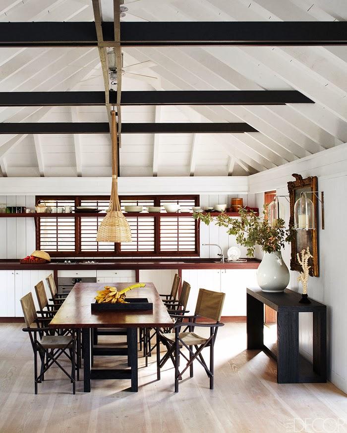 amenajari, interioare, decoratiuni, decor, design interior, casa de vacanta pe plaja, marea caraibelor, bucatarie, sufragerie,
