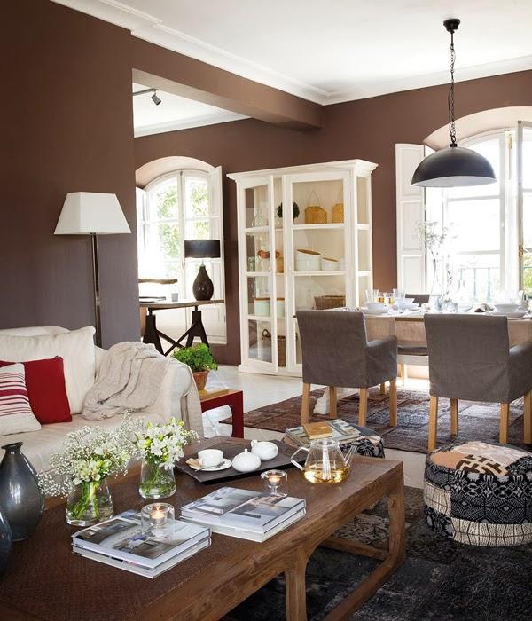 amenajari, interioare, decoratiuni, decor, design interior, interior in maro, gri, verde si rosu, living, birou