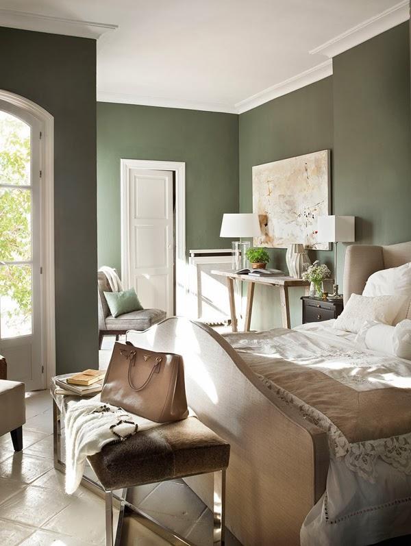 amenajari, interioare, decoratiuni, decor, design interior, interior in maro, gri, verde si rosu, dormitor