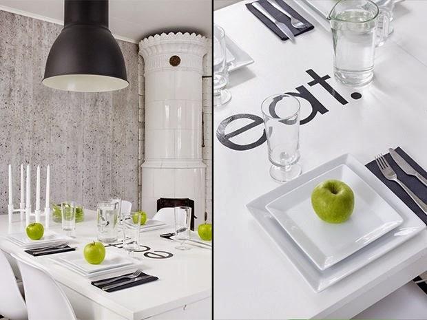 amenajari, interioare, decoratiuni, decor, design interior, stil scandinav, interior amenajat in alb si negru, sufragerie , soba rotunda