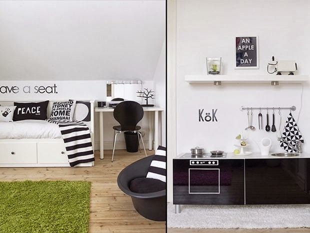 amenajari, interioare, decoratiuni, decor, design interior, stil scandinav, interior amenajat in alb si negru, dormitor, bucatarie,