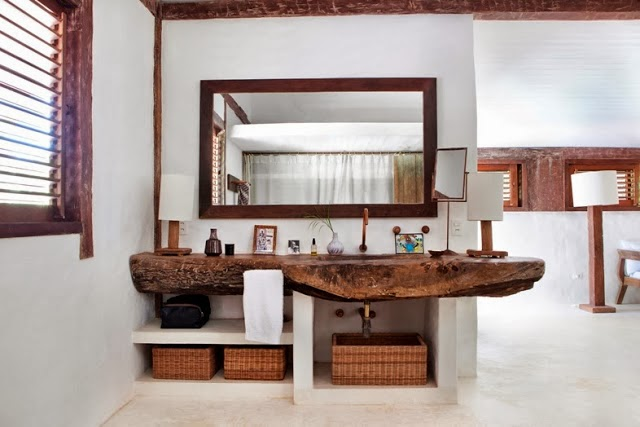 amenajari, interioare, decoratiuni, decor, design interior, casa de vacanta, casa la mare, baie, lavoar din lemn
