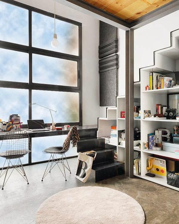 amenajari, interioare, decoratiuni, decor, design interior, loft, scara, birou,