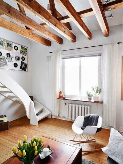 amenajari, interioare, decoratiuni, decor, design interior, duplex, scandinav, mansarda, pereti de caramida, grinzi, living,