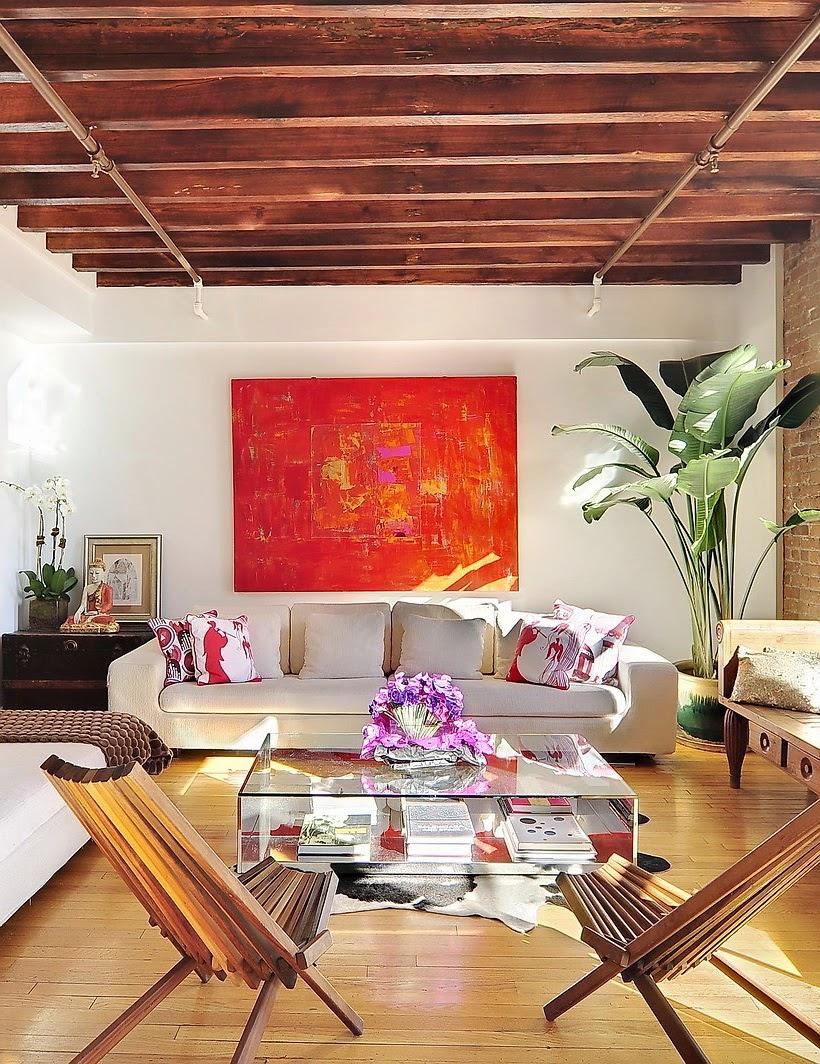 amenajari, interioare, decoratiuni, decor, design interior, loft, perete de caramida, grini expuse, plan deschis, living, bucatarie