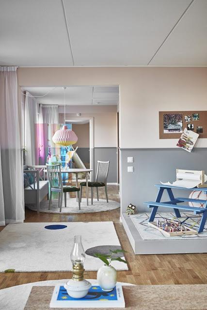 Accente pastelate într-un apartament de 87 m² din Suedia