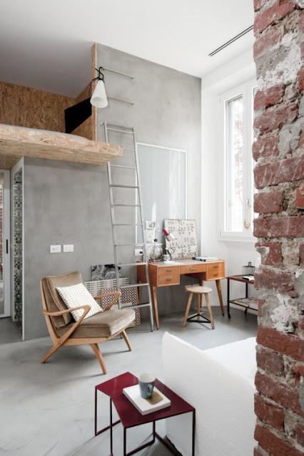 Amenajare industrială într-un mini loft de 30 m² din Milano