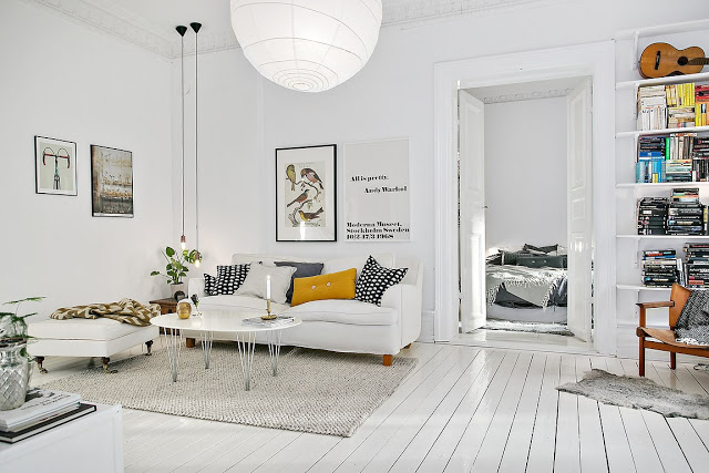 Alb și gri într-un apartament de 94 m²
