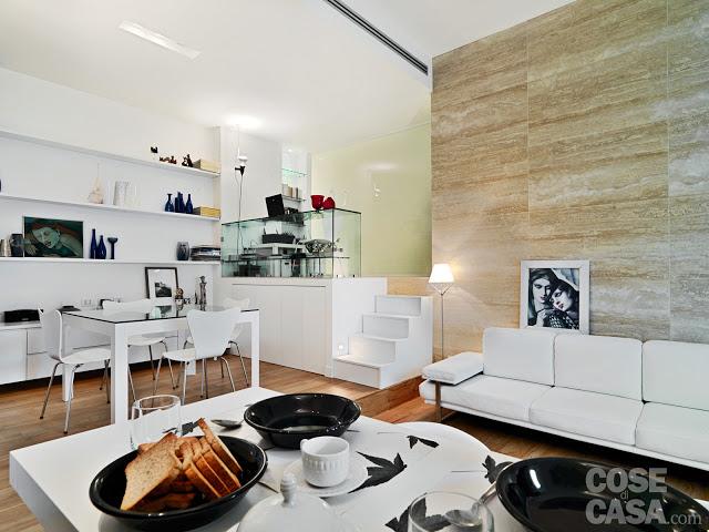Amenajare pe nivele diferite într-un apartament de 58 m²