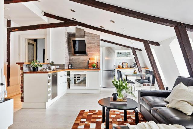 Design interior scandinav într-o mansardă de 71 m²