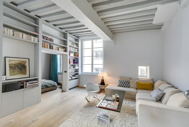 Amenajare practică într-o apartament de 50 m² din Paris