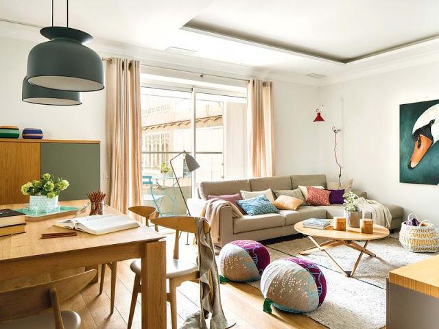 Amenajare primitoare și contemporană într-un apartament din Barcelona