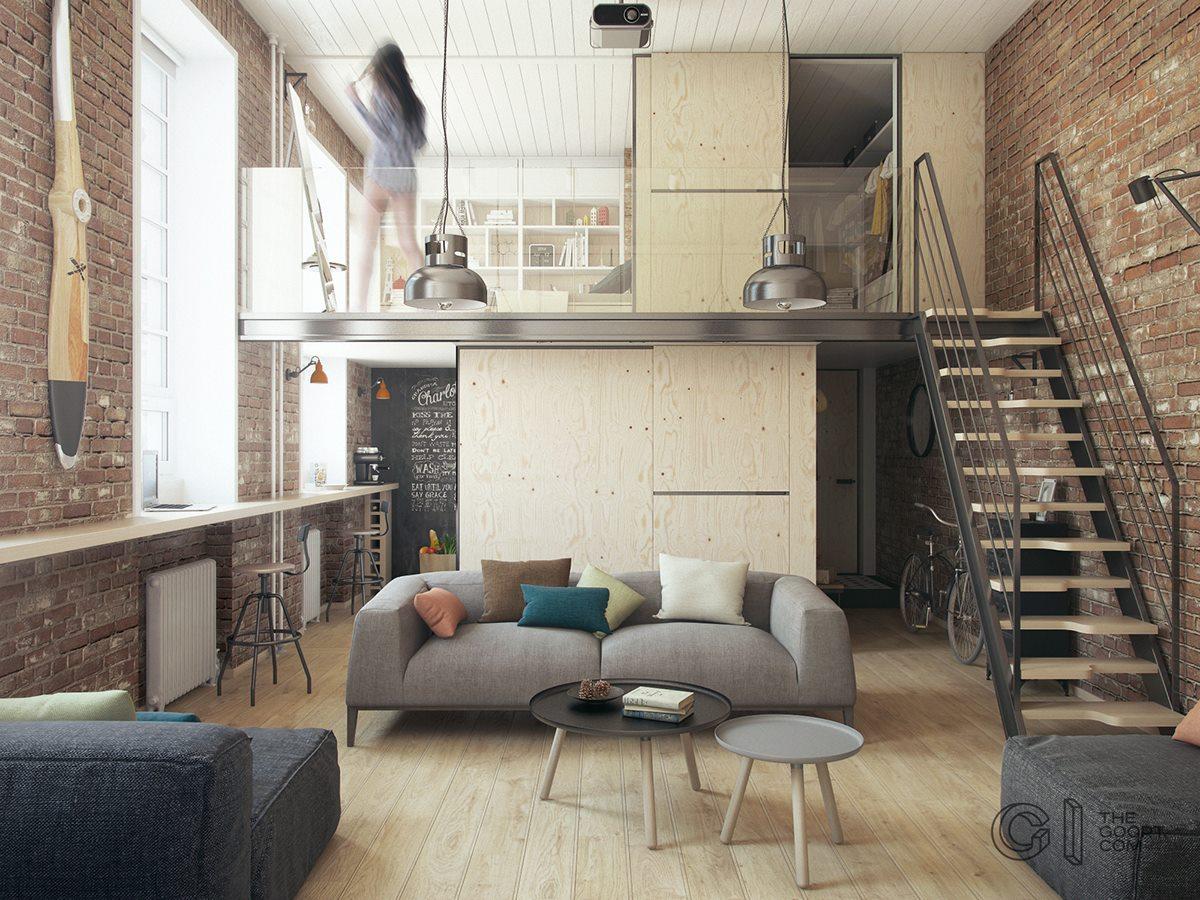 Proiect de amenajare pentru un loft de 35,7 m²