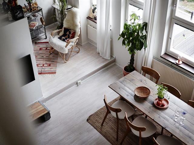 Decor boem într-o mansardă de 70 m² pe două niveluri