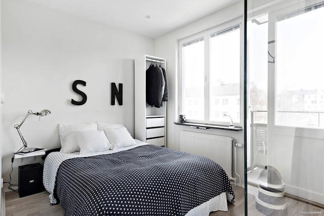 dormitor in alb si negru