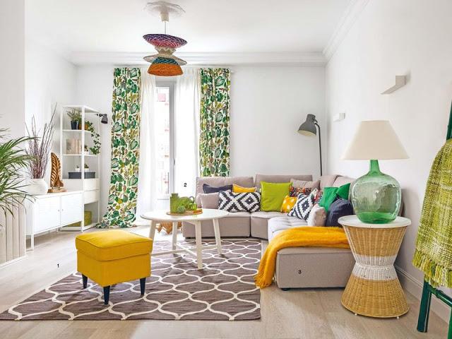 Culori vesele și amenajare modernă într-un apartament de 91 m²