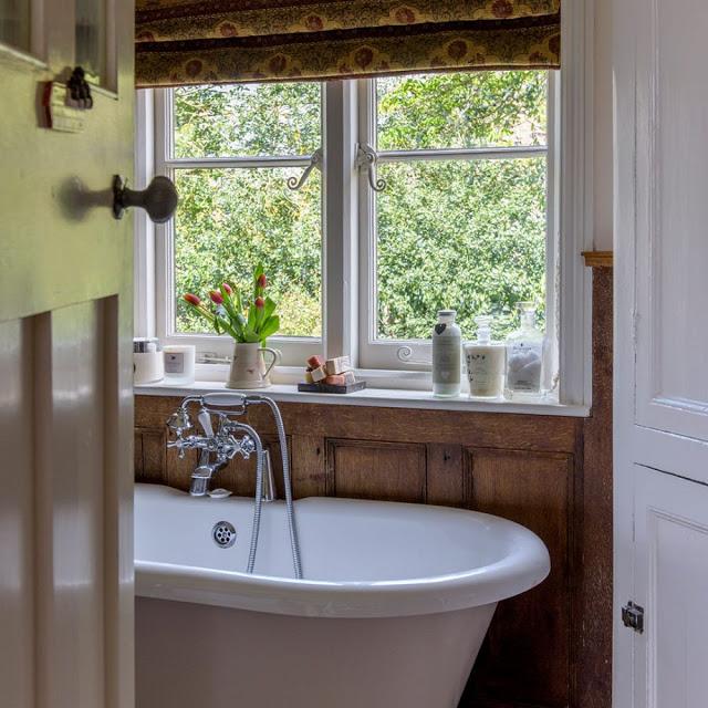 cada pe picioare intr-o baie cu pereti din lemn