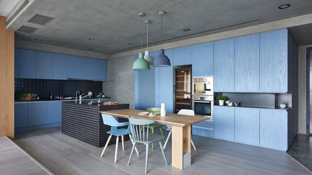 bucatarie moderna in albastru si negru