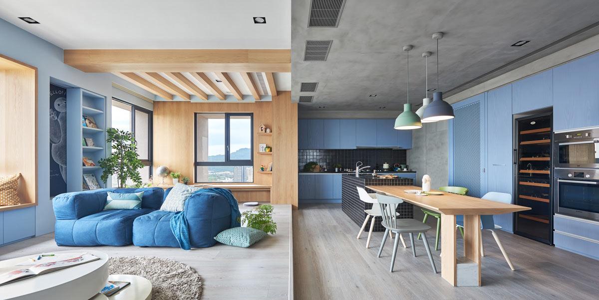 Albastru deschis, lemn și beton într-o amenajare modernă pentru un apartament din Taiwan