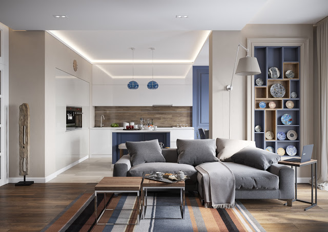 Eleganță în albastru și gri într-un apartament din Sankt Petersburg