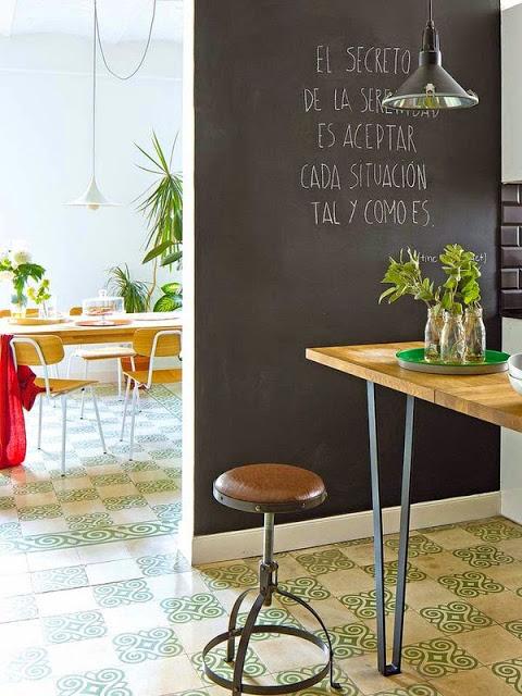 perete negru, tabla de scris, in bucatarie