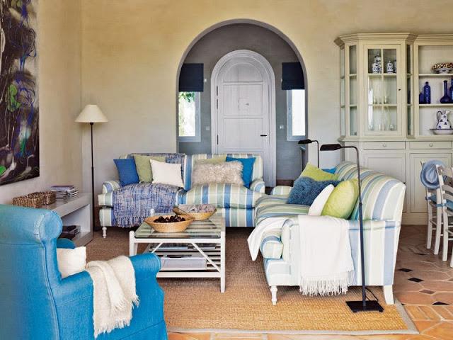 canapele in dungi albastre si verzi
