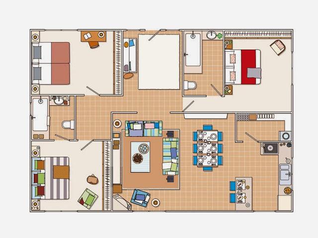 plan de amenajare pentru o casa rustica, mediteraneana