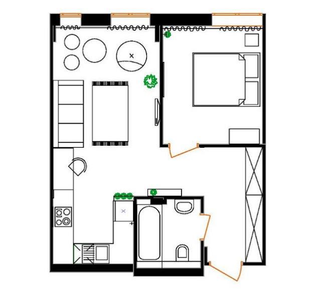plan de amenajare apartament de 43 mp