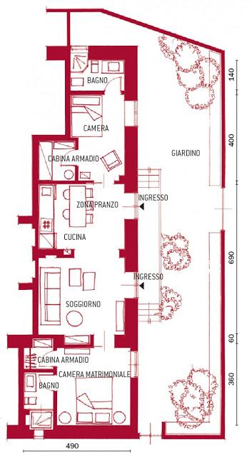 plan de amenajare apartament de 65 mp cu doua dormitoare si 2 bai