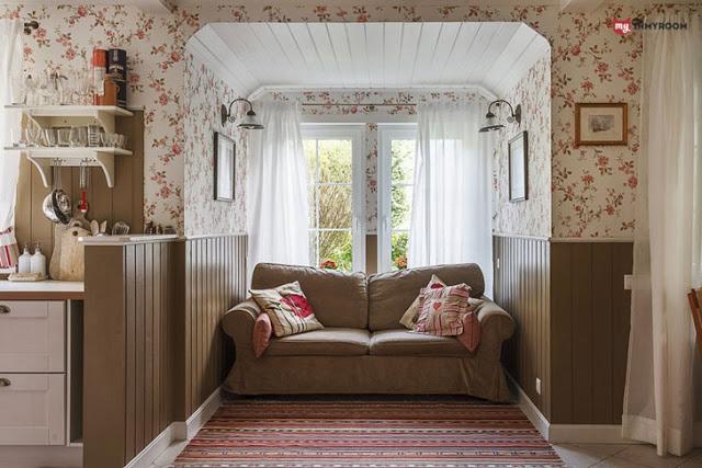 canapea la geam, bucatarie, tapet, flori