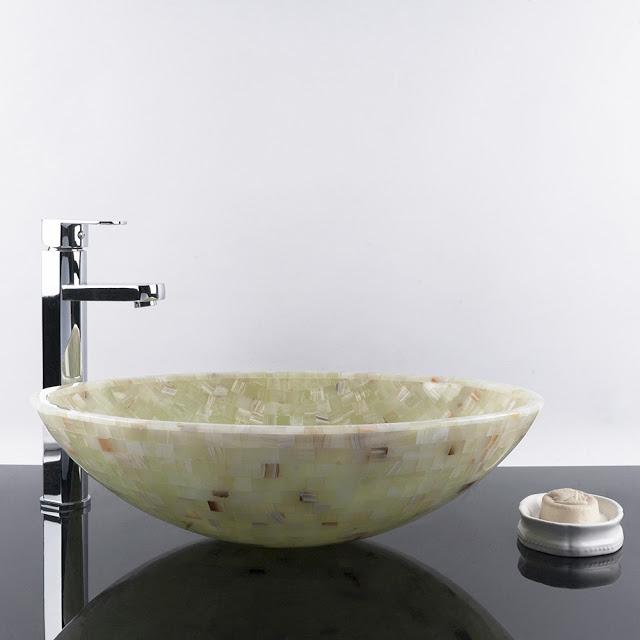 Lavoar din piatră naturală, mozaic Onix verde
