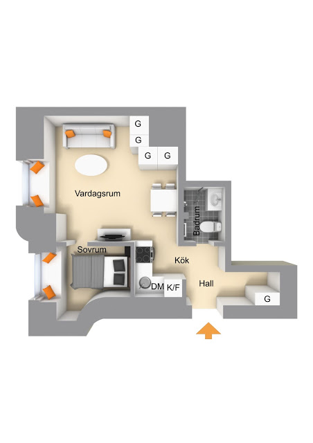 plan de amenajare apartament de 31 mp
