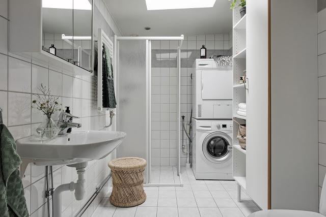 masina de spalat si uscator in baie