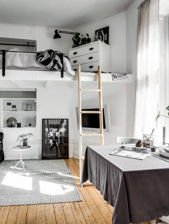 dormitor suspendat in garsoniera